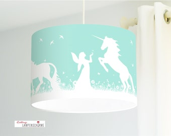 Lampshade- unicorns and elves - 35 cm - optional color on request at no extra charge