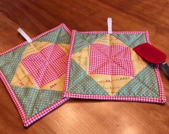 Tumbling Block Quilted Potholders