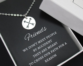 Friendship Necklace, Best Friend Necklace Sterling Silver, Crossed Arrows Necklace, Friendship Jewelry, BFF Gift