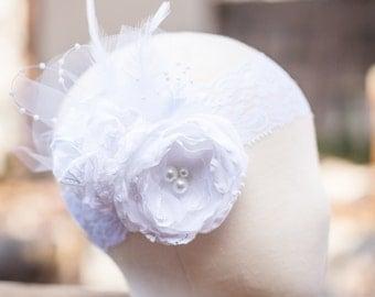 White Baby Girl Headband- Baby Headbands- Baptism Headband- Blessing Christening Headband- Flower Headband- Flower girl Headband- White