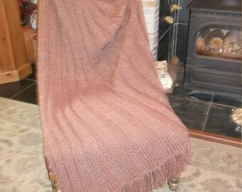 Chunky ribbed hand knitted throw