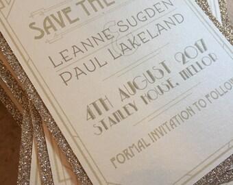 Wedding Save the Date Cards | Glitter | Gatsby | Art Deco