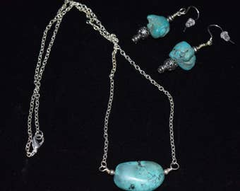 Natural Turquoise Nugget Necklace and Earrings Set