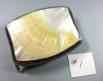 Beautiful Rectangle Mother of Pearl and Stainless Steel Belt Buckle....1970's....Perfect for Scrimshaw