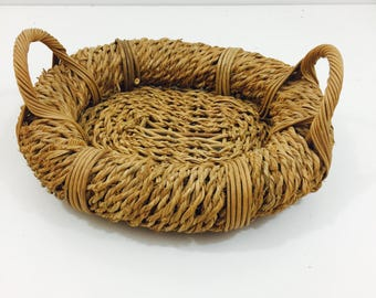 Chunky Vintage Catch All Basket with Handles