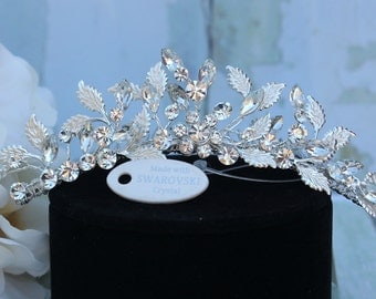 Mini Tiara, Headpiece, or Hair Comb in Silver with Swarovski Crystals