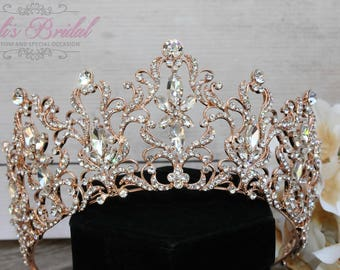 FAST Shipping!!!  Rose Gold Swarovski Tiara,  CristalTiara ,Wedding Tiara ,Crown , Princess Tiara, Quinceanera, Cristal Headpiece
