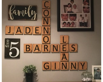 gallery wall package scrabble style family number sign family sign - Door Frame Crossword