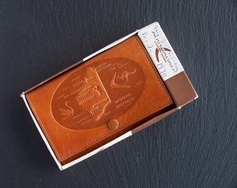 Vintage Tan Leather Wallet, Purse, Swiss Leather Goods  New South Wales, Western Australia, Boomerang, Kangaroo, Swan, Accessory
