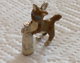 3D Kitty With Milk Bottle Charm