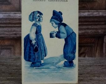 Barton & Spooner Antique Postcard // Dutch Children Postcard // Hearty Greetings
