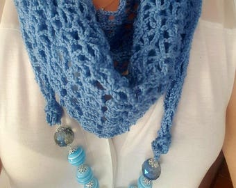 Blue scarf, scarf necklace jewelry, necklace Baktus