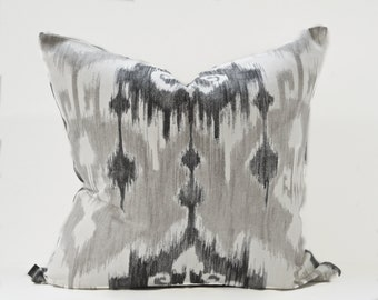 Ikat pillow cover - Charcoal Ikat pillow - Gray Ikat pillow - Tribal pillow - Ethnic Grey pillow - Boho pillow - Gray Off White Pillow