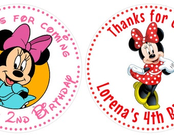 Minnie Mouse Birthday Party Stickers, Printed personalized stickers. Minnie Mouse Stickers, Birthday Party, 1st Birthday, set of 11