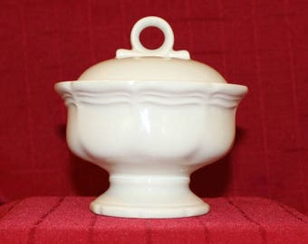 Mikasa White Ironstone Sugar Bowl with Lid, Vintage Sugar Bowl, White Ironstone, French Countryside