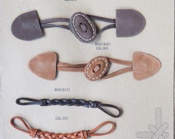 Salesman Sample Card--Leather Closures