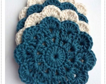 Crochet Coasters - Shabby Chic Crocheted Coasters - Set of 4 Cotton Crocheted Coasters - Teal/Cream