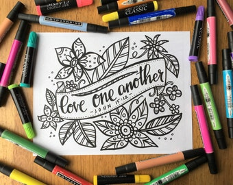 Adult Coloring Page - Love One Another - Printable Coloring Page for Adults - Christian Coloring Page - Scripture Coloring Page