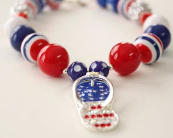 4th of July Chunky Gumball Pendant with Flip Flop Pendant 4060