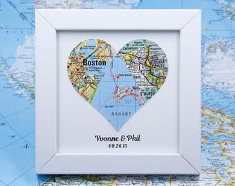 Met Married Live, Unique Wedding Map, 3 Piece Heart, Custom Wedding Map, 1st Anniversary Map, Newlywed Map, Met Engaged Married, Map Heart