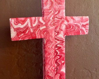 Folk Art Red Rustic Mexican Cross Wall hanging Swirled Plaster HANDMADE Spititual home decor