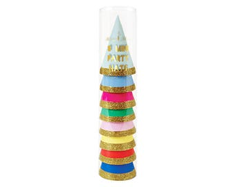 Mini Party Hats - rainbow birthday hats with gold glitter