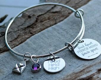 Kind Heart Fierce Mind Brave Spirit Wire Adjustable Bangle Bracelet