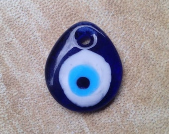 Evil eye glass pendant. Evil eye glass cabochon. Blue evil eye.