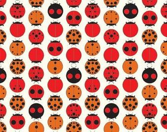 Charley Harper Lady Bugs Organic Fabric Fat Quarter  by Birch OOP HTF