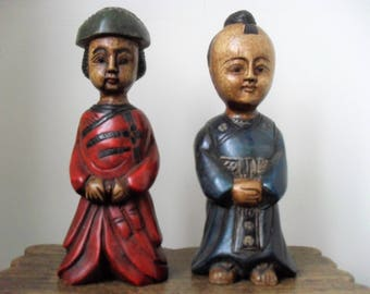 Vintage ASIAN Carvings PAIR Wooden FIGURINES Hand Carved & Painted Figurines Asian Art Oriental Decor Art Objects Male/Female Carving