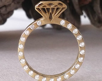 SALE diamonds Engagement ring, Diamond shaped gold ring,Engagement ring, Diamond shape ring, Diamond ring, Gold diamond ring