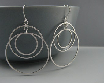 Dangle Hoop Earrings - Three Silver Open Circle, Art Deco Wedding Edgy Earrings - Sunset