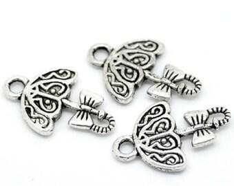 20 pcs Dull silver tone Umbrella Charms