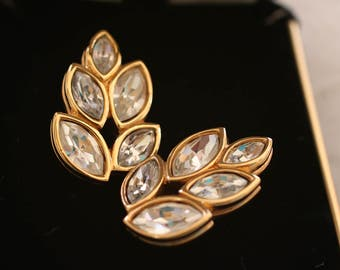 Vintage Pair of Clear Crystal and Gold Tone Post Earrings S.A.L.