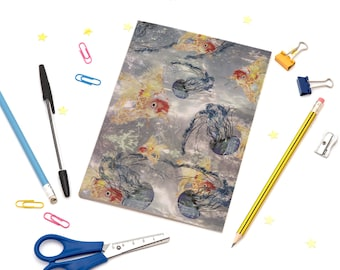 A5 Notebook with Jellyfish and Goldfish Illustration