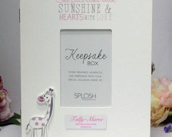 Personalised Baby Keepsake Box - Pink Giraffe