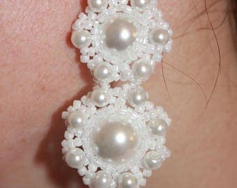 White earrings gift ideas for woman gift idea for women pearl earrings prom earrings festive earrings handmade earrings dressy earrings