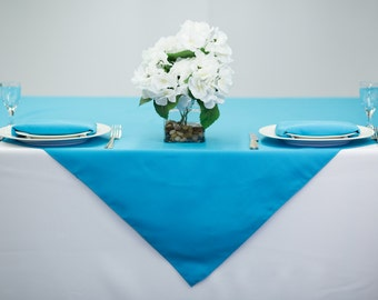 54 Inch Square Turquoise Tablecloth Polyester | Wedding Table Overlay