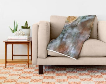 Throw Blanket - 'Nebula' - Home, Decor, Modern, Home Warming, Gift, Nebula, Space, Galaxy, Bohemian, Boho, Abstract, Brown, Colorful, Cosmos