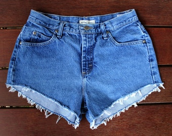 High Waisted Denim Shorts Frayed Cut Off Shorts 30 Waist Medium Wash
