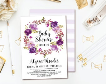 Purple Floral Baby Shower Invitation - Watercolor Floral Wreath Girl Baby Shower - Printable Invites