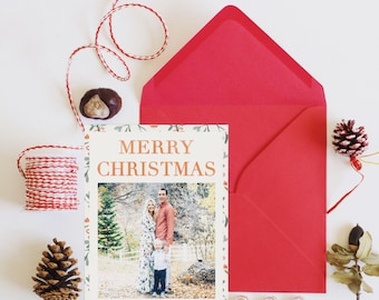 MERRY CHRISTMAS Family Christmas Photo Card - 5x7 Digital Download