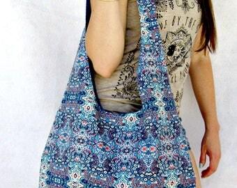 Blue Hobo Bag Purse,  Boho Shoulder Bag, Fabric Tote Bag, Handbag, Hippie Bag, Bohemian.