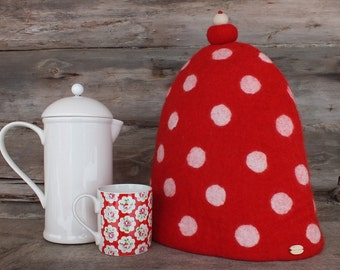 Modern French Coffee Pot Warmer, Red Felted French Press Pot Cover, Red Spotty Coffee Pot Cozy