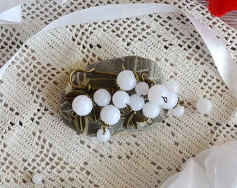 Wedding brooch White brooch Wedding gift for mom Shawl pin Wedding jewelry Scarf pin Gift for wife Scarf holder Womens gift Grandma gift