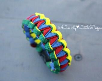 Custom Autism Awareness Paracord Bracelet - Twisted Cobra - Survival Bracelet - 550 Paracord - Handmade - Kids Bracelet - Unique