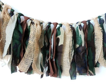 Camo Army Rag Tie Banners, Baby Nursery Decor, Military Birthday Party, Hunting Fabric Banner, Camo Banner, Cake Smash, Photo Back Drop