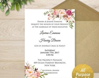 All Purpose Pink Floral Invitation Template, Printable Wedding Invite, Bridal Baby Shower, Invitation, Boho Rustic, DIY PDF Download #102