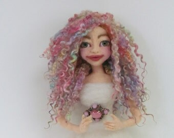 Doll Hair, Wensleydale Curly Locks, Hand Dyed/Painted Curly Locks, Mix spring colors, Listed for 1/2 oz