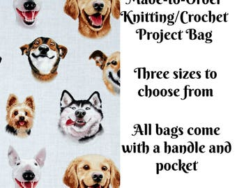 Knitting Project Bag, Sock Knitting Bag, Medium, Large, Sweater, Crochet Bag, Cross Stitch, Made to Order, Dog Selfies in Blue